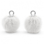 Pompom charms with loop faux fur 12mm White-Silver