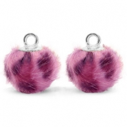 Pompom charms with loop faux fur leopard 12mm Purple Pink-Silver