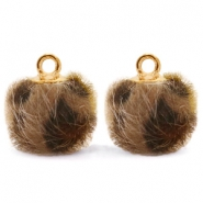 Pompom charms with loop faux fur leopard 12mm Chocolate Brown-Gold