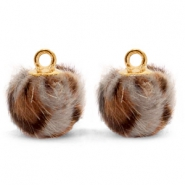Pompom charms with loop faux fur leopard 12mm Taupe Brown-Gold