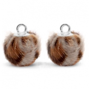 Pompom charms with loop faux fur leopard 12mm Taupe Brown-Silver
