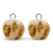 Pompom charms with loop faux fur leopard 12mm Camel Brown-Silver