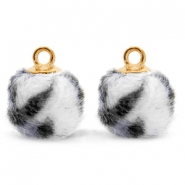 Pompom charms with loop faux fur leopard 12mm Off White-Gold