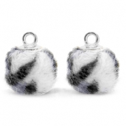Pompom charms with loop faux fur leopard 12mm Off White-Silver