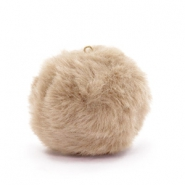 Pompom charms with loop  faux fur 3.5cm Naturel Brown