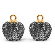 Pompom charms with loop glitter 12mm Anthracite-Gold