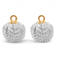 Pompom charms with loop glitter 12mm Silver-Gold