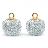 Pompom charms with loop glitter 12mm Blue Silver-Gold