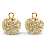 Pompom charms with loop glitter 12mm Gold