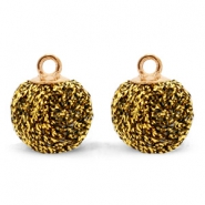 Pompom charms with loop glitter 12mm Gold Brown-Gold