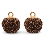 Pompom charms with loop glitter 12mm Bronze-Gold