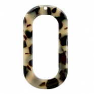 Resin pendants oblong oval 56x30mm Cream-Black