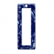 Resin pendants rectangle 40x16mm Dark Blue