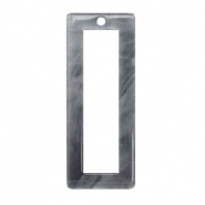 Resin pendants rectangle 40x16mm Grey