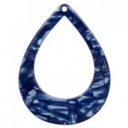 Resin pendants drop 45x34mm Dark Blue