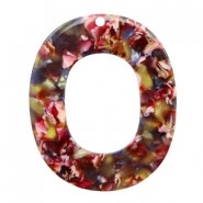 Resin pendants oval 48x40mm Mixed Red-Yellow