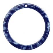 Resin pendants round 35mm Dark Blue