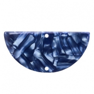 Resin pendants / connectors half circle 35x17mm Dark Blue