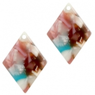 Resin pendants rhombus 20x14mm Mixed Pink-Blue