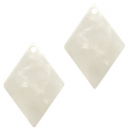 Resin pendants rhombus 20x14mm Off White