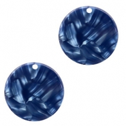 Resin pendants round 19mm Dark Blue