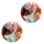 Resin pendants round 19mm Mixed Pink-Blue