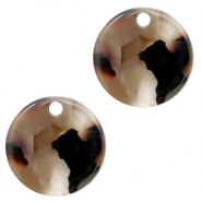 Resin pendants round 12mm Mixed Brown