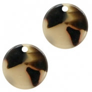 Resin pendants round 12mm Cream-Black