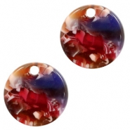 Resin pendants round 12mm Mixed Red-Yellow