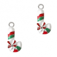 Metal charms candy cane Silver-Red Green
