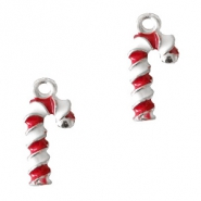 Metal charms candy cane Silver-Red