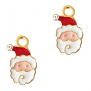 Metal charms Santa Claus Gold-White Red
