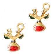 Metal charms reindeer Gold-Red