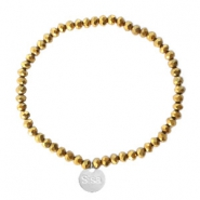 Sisa top faceted bracelets 4x3mm (stainless steel charm) Gold-Amber Coating