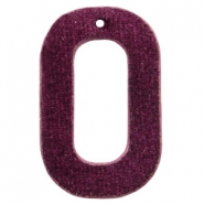 Velvet pendant recktangle 43x27mm Aubergine Purple