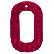 Velvet pendant recktangle 43x27mm Port Red