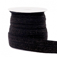 Elastic ribbon glitter Black