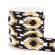 Elastic ribbon aztec Black