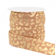 Elastic ribbon leopard Camel Brown