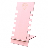 Jewellery display wood diamond Pink