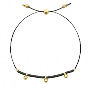 Ready-made bracelets with small bead Black-Gold