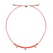 Ready-made bracelets with small bead Red-Silver