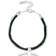 Ready-made bracelets velvet with belcher chain Dark Green-Silver