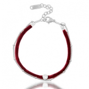 Ready-made bracelets velvet with belcher chain Port Red-Silver