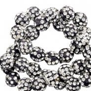 Rhinestone beads 10 mm Black-Silver