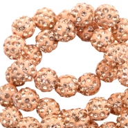 Rhinestone beads 8mm Peach