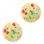 Metal Charms round 1 eye flowers Pink-Gold