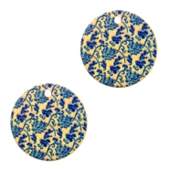 Metal Charms round 1 eye flowers Blue-Gold