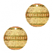 Metal Charms round 1 eye aztec Brown Green-Gold