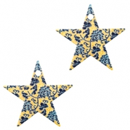 Metal Charms star 1 eye flowers Blue-Gold